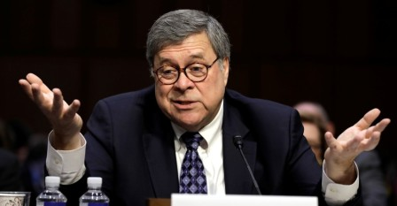William Barr testifies at a Senate Judiciary hearing on nomination to be U.S. attorney general on Capitol Hill in Washington